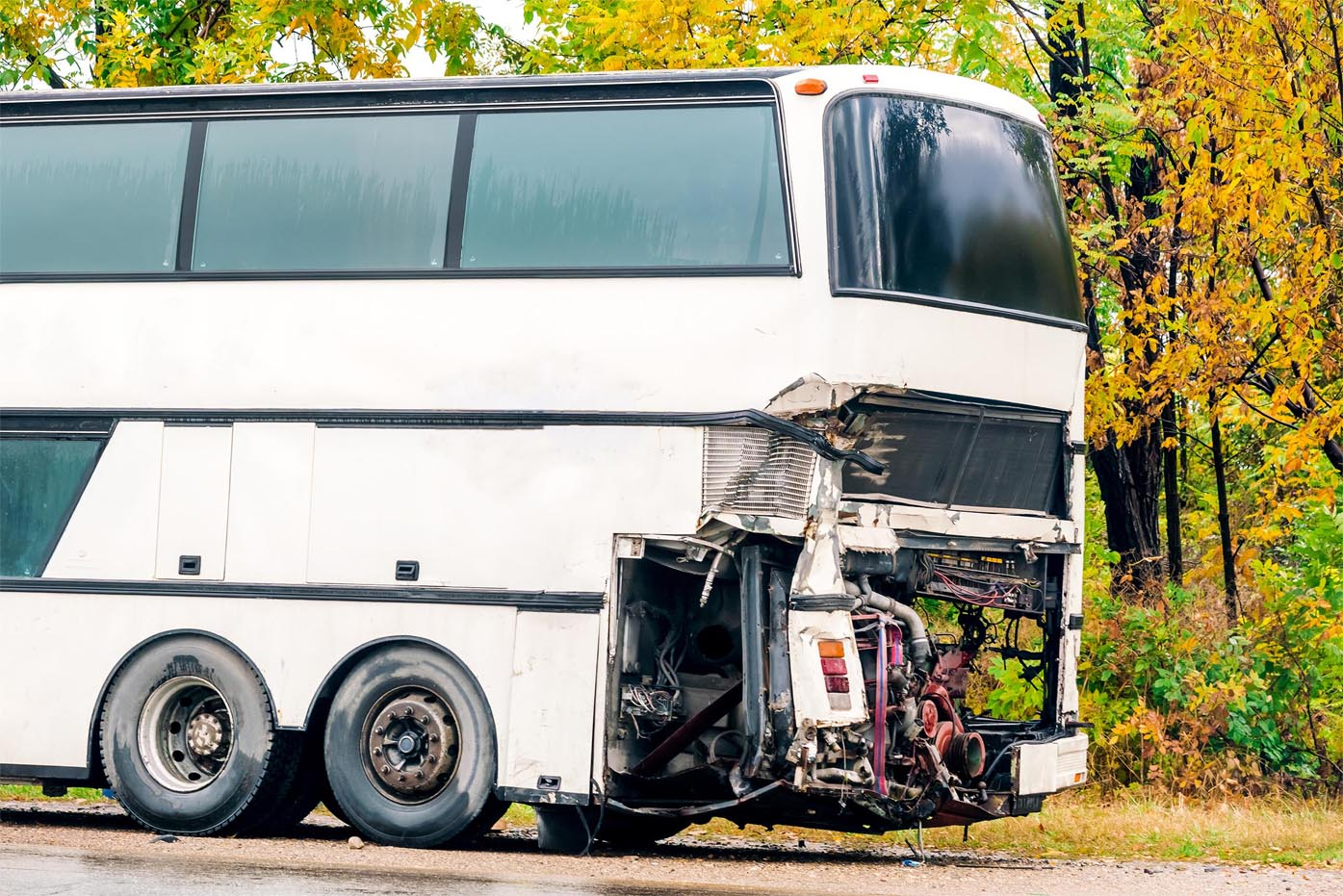 Large damaged Bus